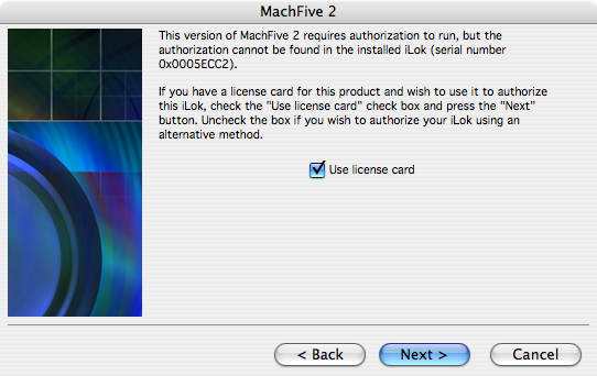 MachFive license card authorization - 03 - Use license card
