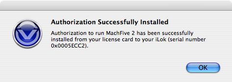 MachFive license card authorization - 04 - Authorization Successful