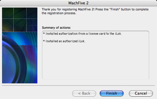 MachFive license card authorization - 05 - Finish