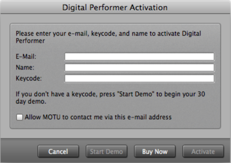 MOTU com - Keycode Activation for Digital Performer
